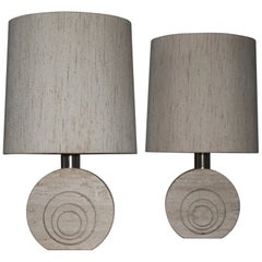 Pair of Travertine and Brass Table Lamps by Fratelli Manelli