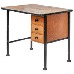 Small Maple and Steel Desk with Drawers, 1940s