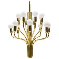 Large Midcentury Brass Pendant Sputnik Lamp, Germany, 1970s