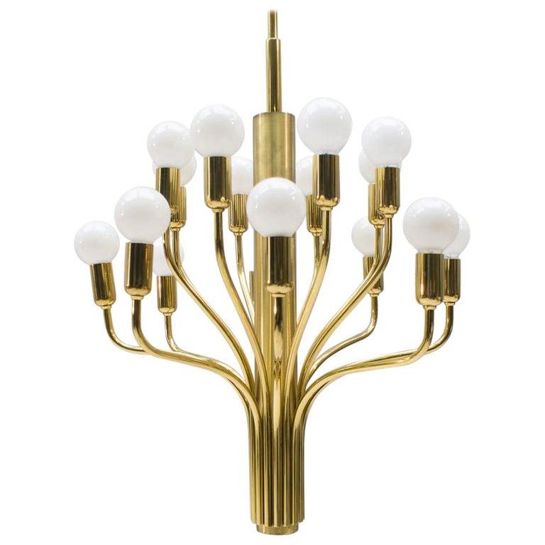 Large Midcentury Brass Pendant Sputnik Lamp, Germany, 1970s For Sale