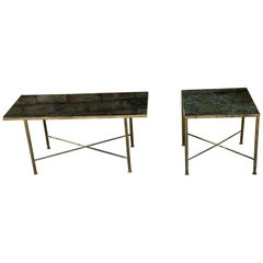 1950s French Brass and Marble Tables