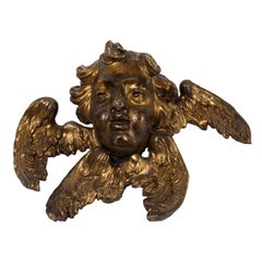 Couple of Ancient Wooden Gilded Angel Heads, 18th Century