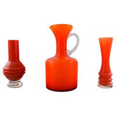 Jug and Two Vases in Orange Art Glass, 1960s-1970s