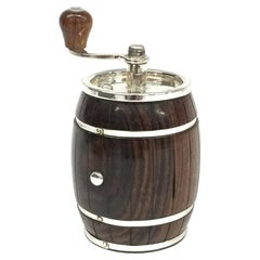 Sterling Silver with Rosewood Wooden Barrel Pepper Mill