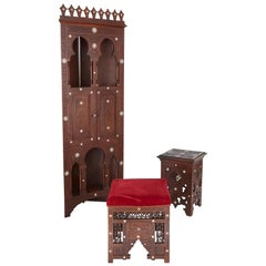 Moorish Style Mother of Pearl Inlaid Hardwood Three-Piece Furniture Set