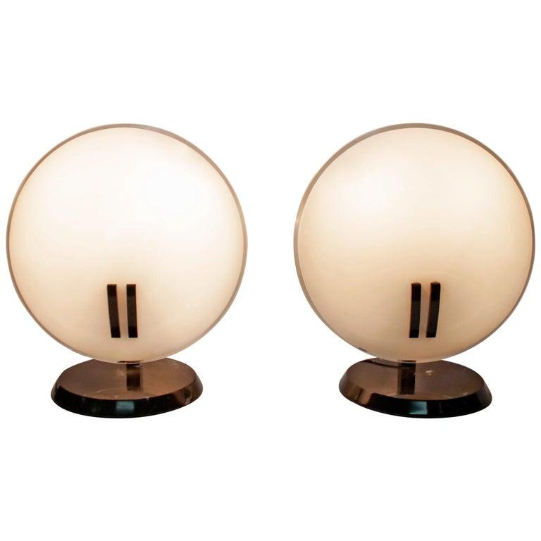 """Pair of Bruno Gecchelin Italian Table Lamps """"Perla"""" for Oluce, 1980s For Sale"""