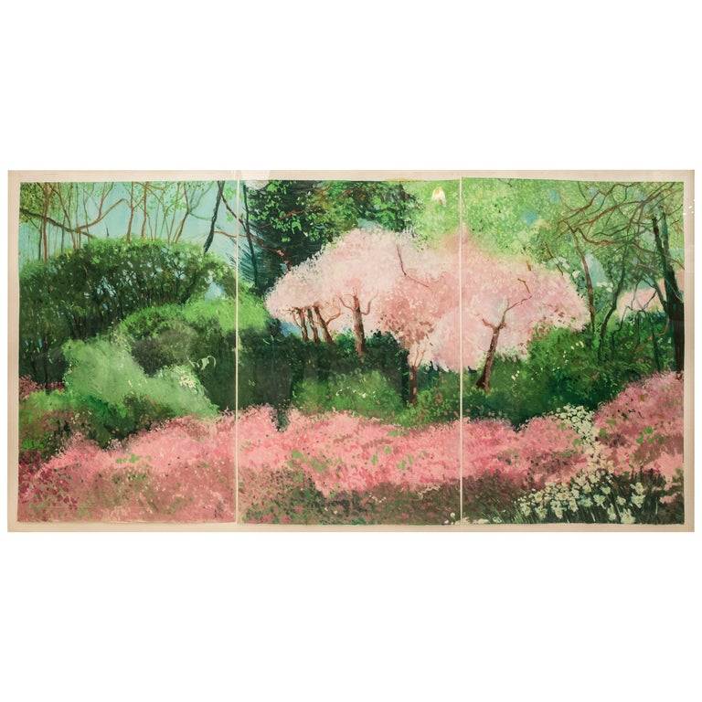 20th Century Painting Green Pink Mixed Technique on Paper  For Sale
