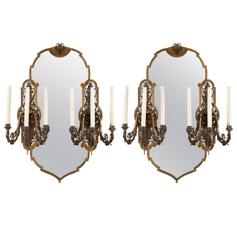 Two Rococo Style Gilt and Silvered Metal Girandoles For Sale