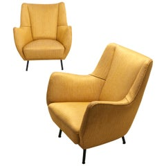 Pair Italian Easy Chairs, 1950s