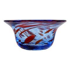 Ulrica Hydman Vallien for Kosta Boda, Sweden, Bowl in Blue Mouth Blown Art Glass