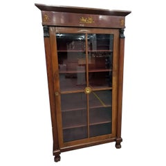 Empire French Vitrine Display Cabinet with Brass Mythological Ornaments