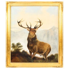 Antique Oil Painting Stag by Edward Henry Windred Signed and Dated 1915