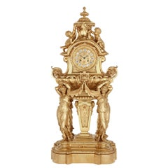 Large French Second Empire Style Gilt Bronze Mantel Clock