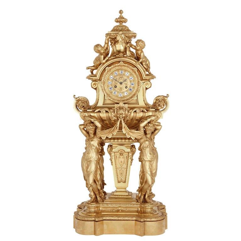 Large French Second Empire Style Gilt Bronze Mantel Clock For Sale