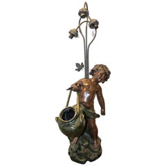 French Art-Nouveau Pewter Child Sculpture Lamp, Signed and Seal