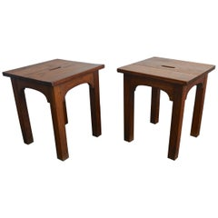 Pair of Solid Oak Stools or Side Tables, France, 1940s