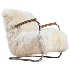 Dutch Tubular Armchair by De Cirkel in White Sheepskin, 1930s Bauhaus Period