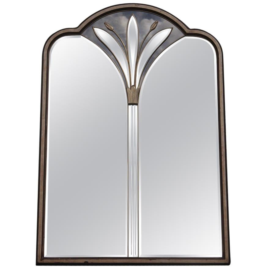 French Brass Flower Wall Mirror, Rectangular Silver Gold