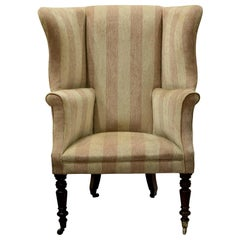 Victorian Wing Back Chair with Outswept Arms on Ring Turned Legs, circa 1860