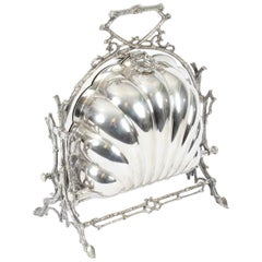 Victorian Silver Plated Shell Folding Biscuit Box by Elkington, 19th Century