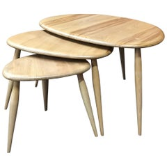 Blonde Nest of Tables, Pebbles by Lucian Ercolani for Ercol, Elm and Beech