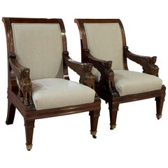 Pair of Mahogany Library Chairs with Carved Sphinx Decoration to the Arms 19thc