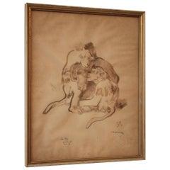 """Monkey Family"" Original Watercolor by Ludwig Heinrich Jungnickel"