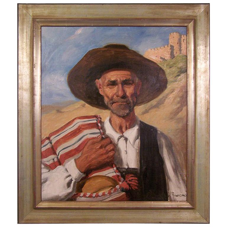 Portrait Painting by California Artist John Bond Francisco, Early 20th Century For Sale