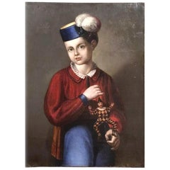 19th Century Italian Portrait of a Boy with a Jumping Jack by C. Pagnini