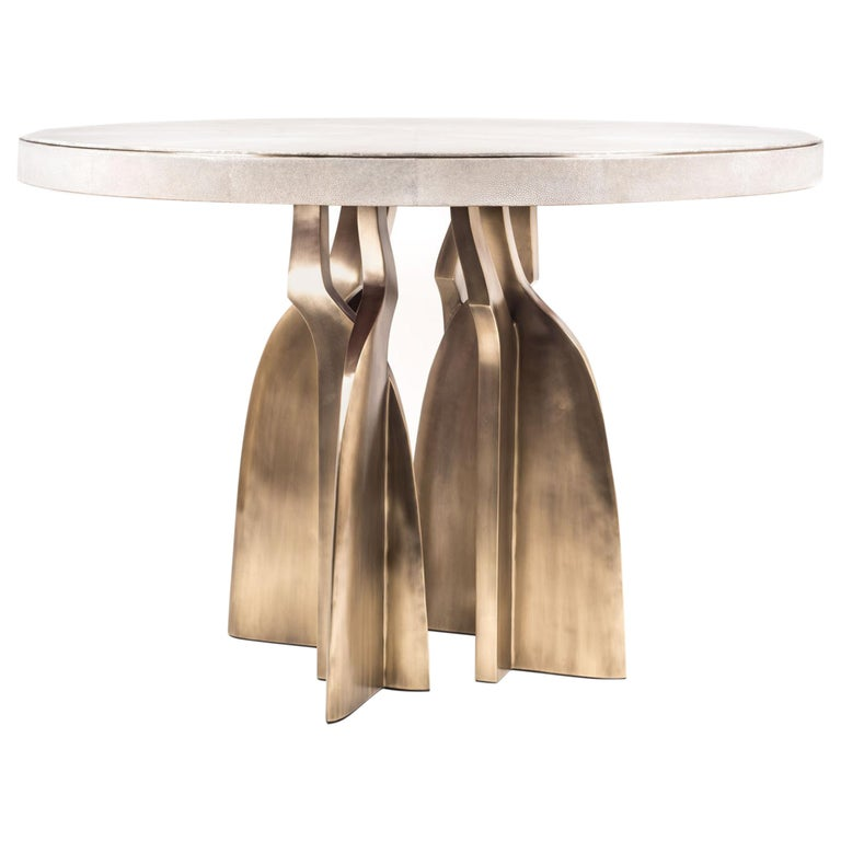 """""""Chital"""" Breakfast Table in Cream Shagreen and Bronze-Patina Brass by Kifu Paris For Sale"""