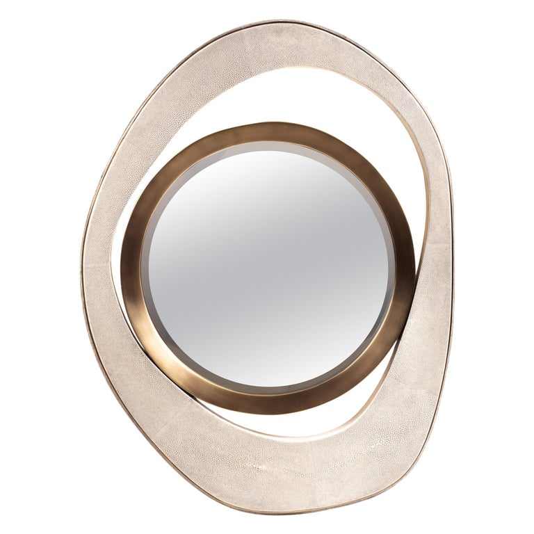 "Medium ""Peacock"" Mirror in Cream Shagreen & Bronze-Patina Brass by R&Y Augousti  For Sale"