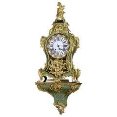 Fine Louis XV Gilt-Bronze Mounted Corne Verte Bracket Clock, circa 1750