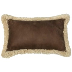 Outback Brown Leather and Shearling Sheepskin Pillow Rectangle Cushion