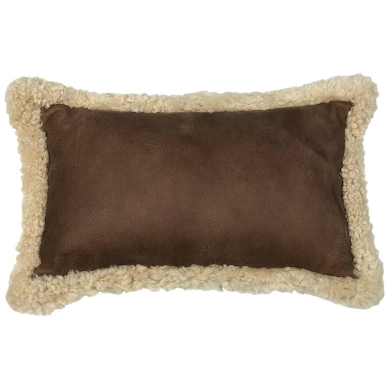 Outback Brown Leather and Shearling Sheepskin Pillow Rectangle Cushion For Sale