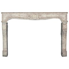 18th Century French Country Limestone Antique Fireplace Surround