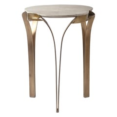 """Angel-Falls"" Side Table in Cream Shagreen & Bronze-Patina Brass by R&Y Augousti"