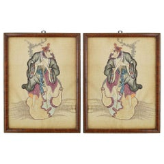 Pair of Embroidered Chinoiserie Panels of a Gentleman Early 20th Century