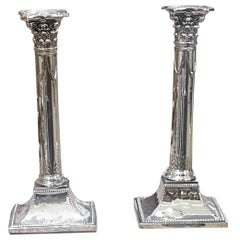 Pair of Early 19th Century Plated Corinthian Column Candlesticks
