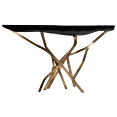 Acacia Console Table in Black Pen Shell and Bronze-Patina Brass by R&Y Augousti