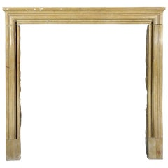 19th Century Louis XIV Style French Honey Limestone Antique Fireplace Mantle