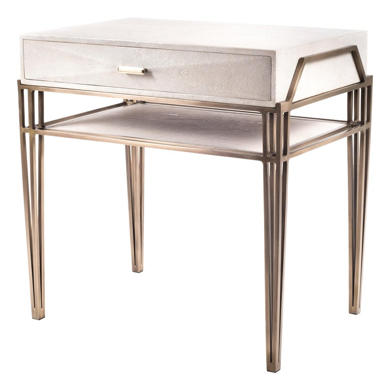 """""""Cosmia"""" Bedside Table in Cream Shagreen and Bronze-Patina Brass by R&Y Augousti For Sale"""
