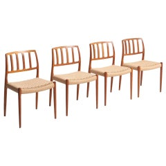 Set of 4 Dining Chairs in Paper Cord, Niels O. Møller
