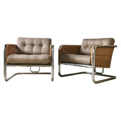 Pair of Woven Rattan and Chrome Framed Armchairs 1960s