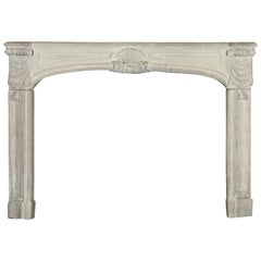 18th Century Regency Antique French Classic Limestone Fireplace Surround
