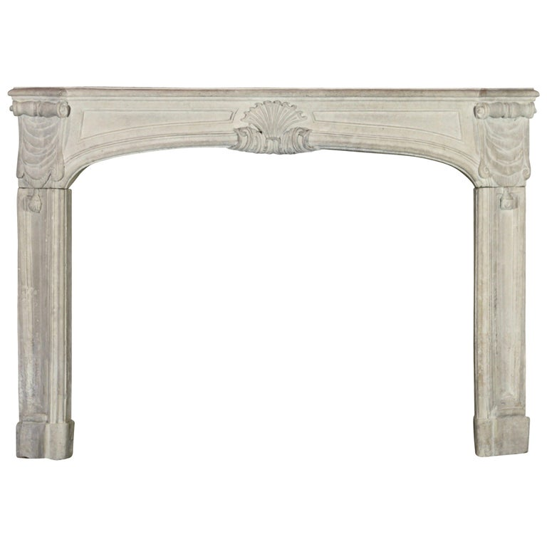 18th Century Regency Antique French Classic Limestone Fireplace Surround For Sale