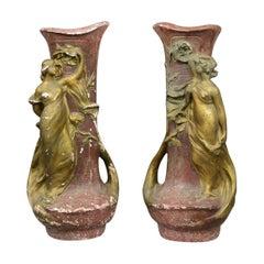 Antique Plaster Vases, French, Art Nouveau, Amphora, Early 20th Century