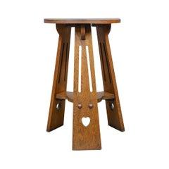 Arts and Crafts Side Table, English, Antique, Liberty-Esque, Oak, Tripod