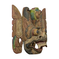 Balinese Barong Carved Mask, Decorative, Painted, Wooden Face, Wall Art, C20th