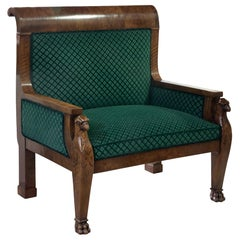 Large French Mahogany Empire Style Armchair, c 1880