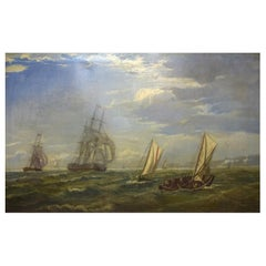 British Marine Painter, Oil on Canvas, 19th Century, Numerous Ships off Dover